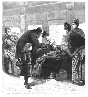 """""""Canada--The Recent Smallpox Epidemic in Montreal--Vaccinating American-Bound Passengers on a Train of the Grand Trunk Railway,"""" Frank Leslie's Illustrated Newspaper 61: 1579 (December 26, 1885), 316, half-page wood engraving from sketch by James Marvin. Both in Bert Hansen Collection, New York City."""