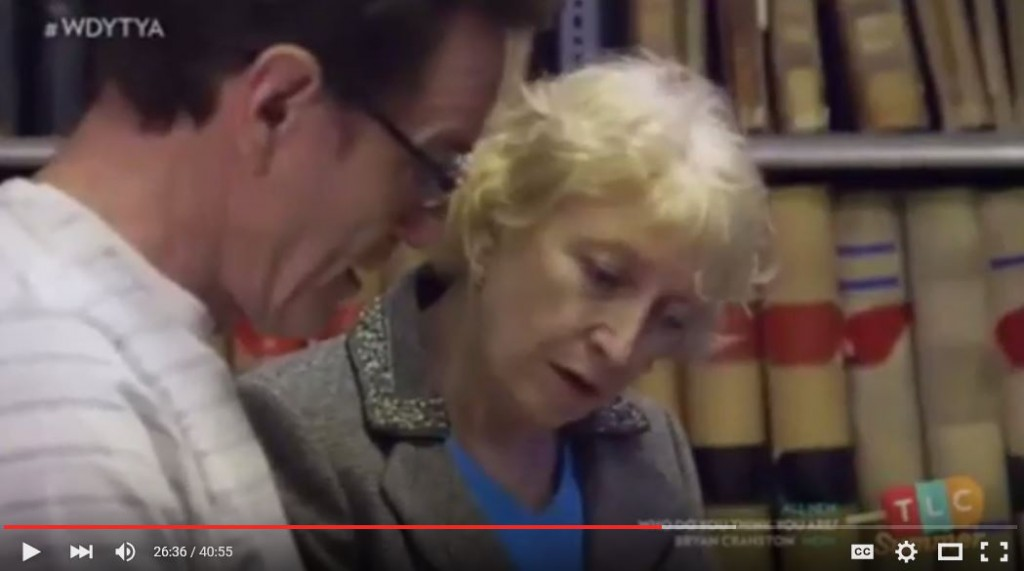 Canadian social historian Janice Harvey helps Bryan Cranston learn about his great-grandfather in Montreal on WDYTYA? Source: YouTube screen capture.